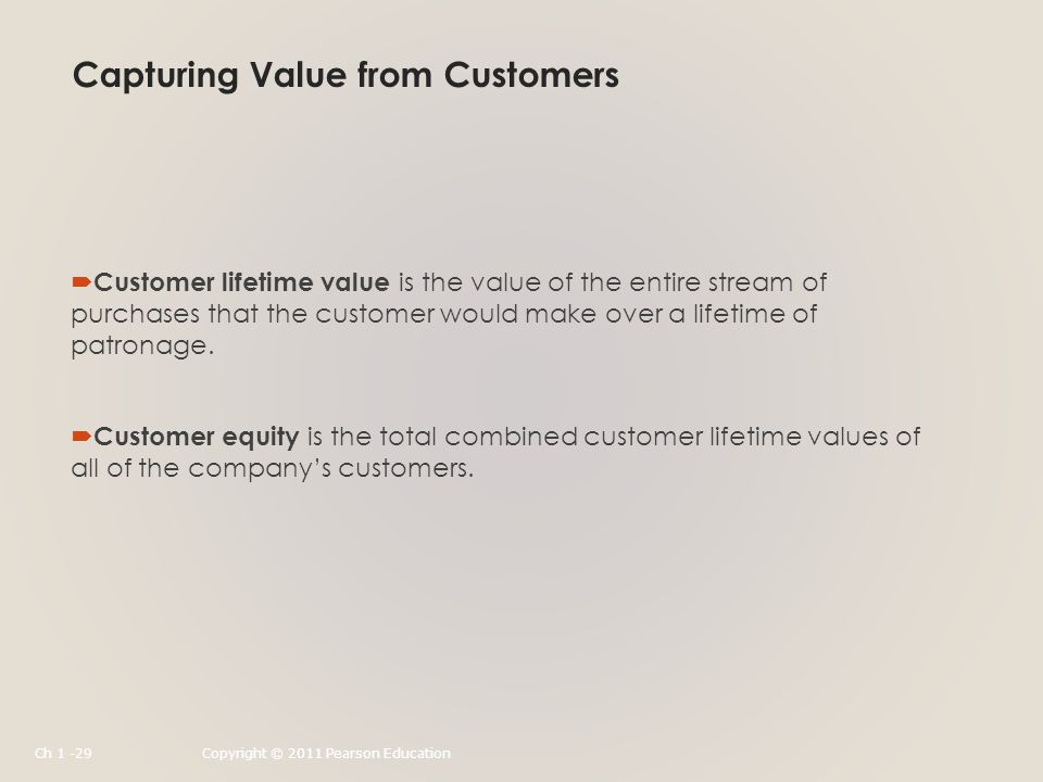 Capturing Value from Customers  Customer lifetime value is the value of the entire stream of purchases that the customer would make over a lifetime of patronage.