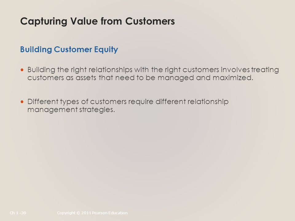 Capturing Value from Customers Building the right relationships with the right customers involves treating customers as assets that need to be managed and maximized.