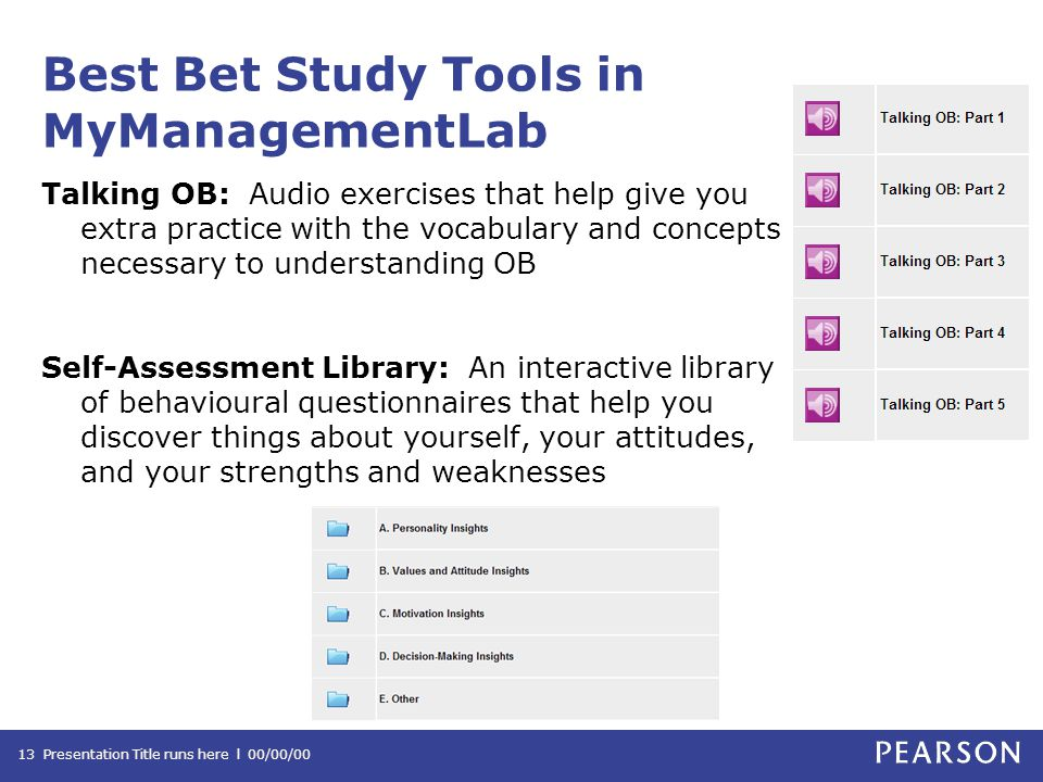 Best Bet Study Tools in MyManagementLab Talking OB: Audio exercises that help give you extra practice with the vocabulary and concepts necessary to understanding OB Self-Assessment Library: An interactive library of behavioural questionnaires that help you discover things about yourself, your attitudes, and your strengths and weaknesses Presentation Title runs here l 00/00/0013