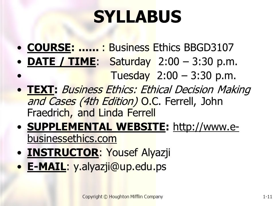 1-11Copyright © Houghton Mifflin Company SYLLABUS COURSE:......