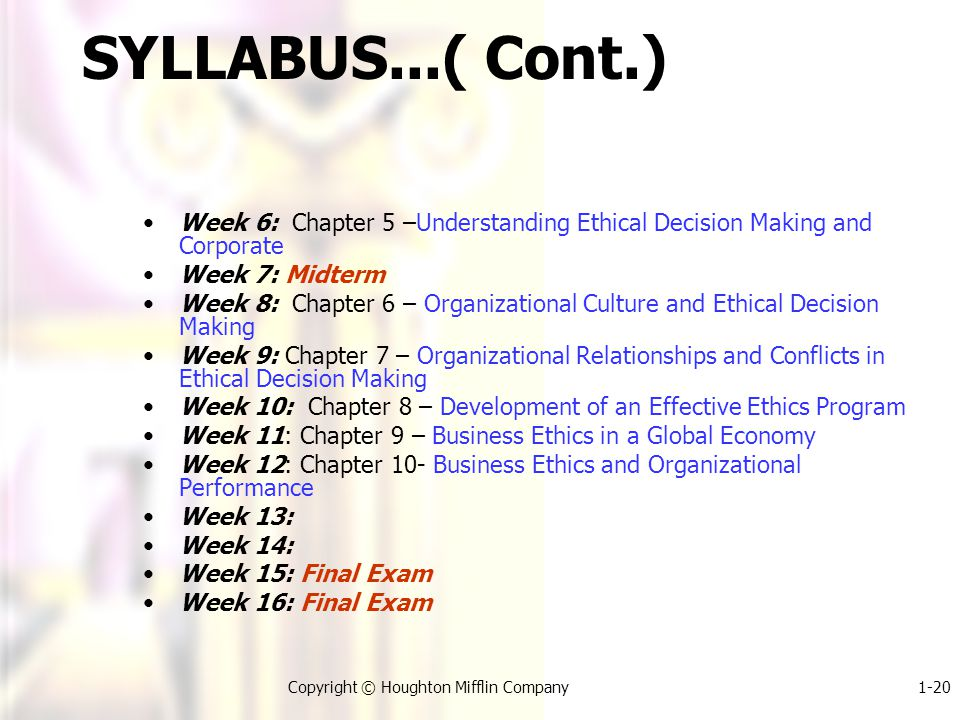1-20Copyright © Houghton Mifflin Company SYLLABUS...( Cont.) Week 6: Chapter 5 –Understanding Ethical Decision Making and Corporate Week 7: Midterm Week 8: Chapter 6 – Organizational Culture and Ethical Decision Making Week 9: Chapter 7 – Organizational Relationships and Conflicts in Ethical Decision Making Week 10: Chapter 8 – Development of an Effective Ethics Program Week 11: Chapter 9 – Business Ethics in a Global Economy Week 12: Chapter 10- Business Ethics and Organizational Performance Week 13: Week 14: Week 15: Final Exam Week 16: Final Exam