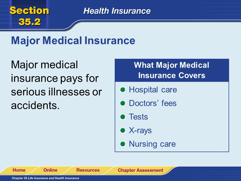 Major Medical Insurance Major medical insurance pays for serious illnesses or accidents.