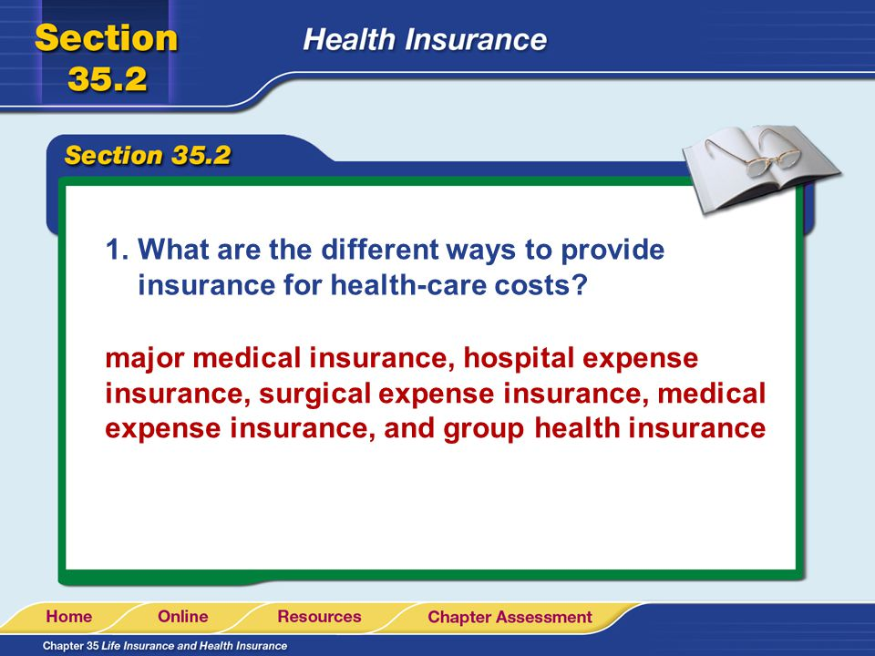 1.What are the different ways to provide insurance for health-care costs.