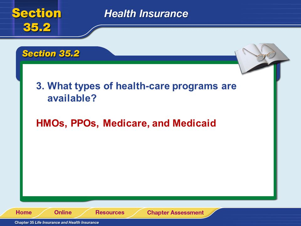 3.What types of health-care programs are available HMOs, PPOs, Medicare, and Medicaid