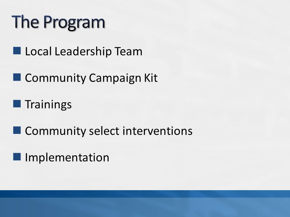 Local Leadership Team Community Campaign Kit Trainings Community select interventions Implementation