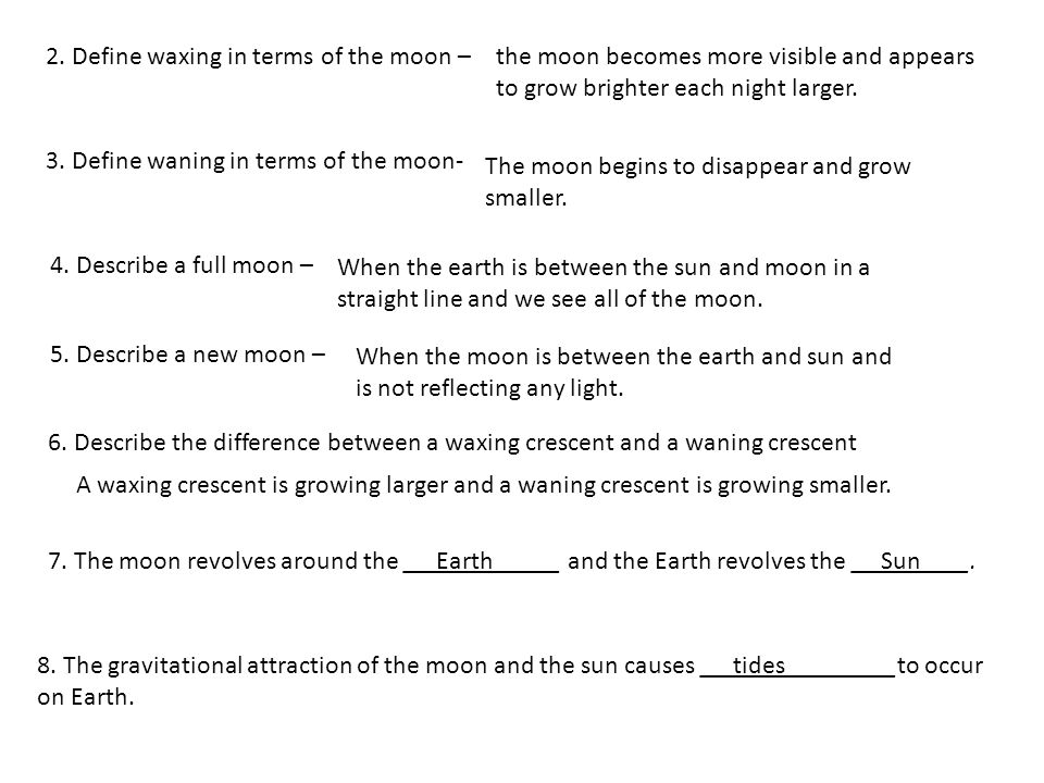 2. Define waxing in terms of the moon – 3. Define waning in terms of the moon- 4.