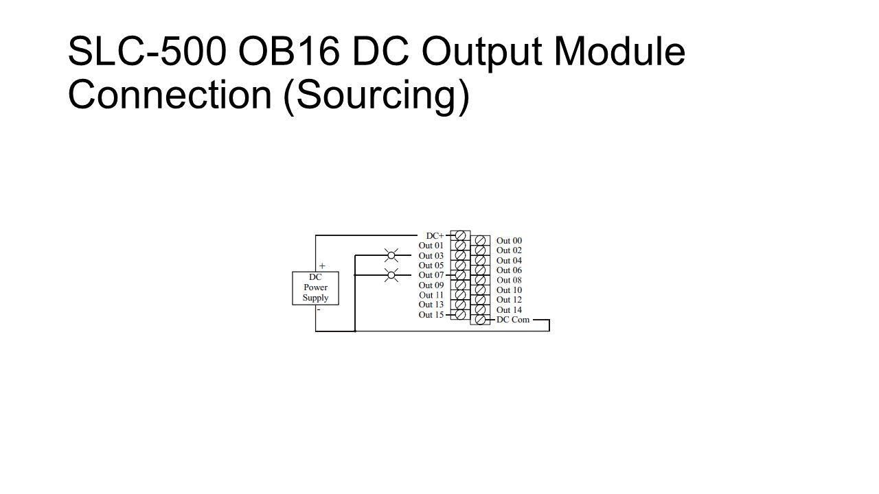 7 slc-500 ob16 dc output module connection (sourcing)