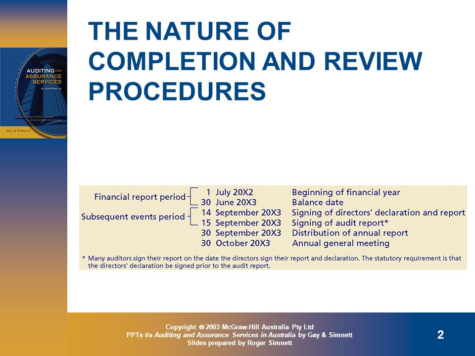 Copyright  2003 McGraw-Hill Australia Pty Ltd PPTs t/a Auditing and Assurance Services in Australia by Gay & Simnett Slides prepared by Roger Simnett 2 THE NATURE OF COMPLETION AND REVIEW PROCEDURES