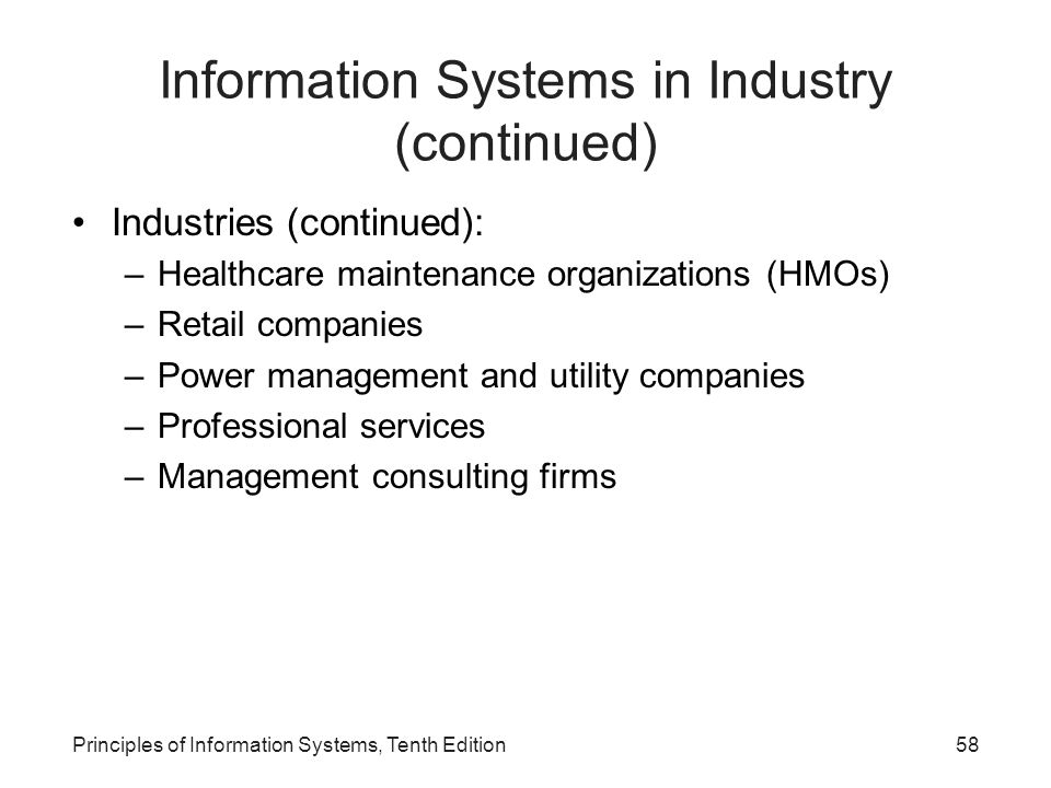 Information Systems in Industry (continued) Industries (continued): –Healthcare maintenance organizations (HMOs) –Retail companies –Power management and utility companies –Professional services –Management consulting firms Principles of Information Systems, Tenth Edition58