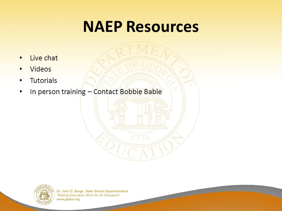 Naep 2015 pre administration workshop bobbie bable ppt download 35 naep resources live chat videos tutorials in person training contact bobbie bable ccuart