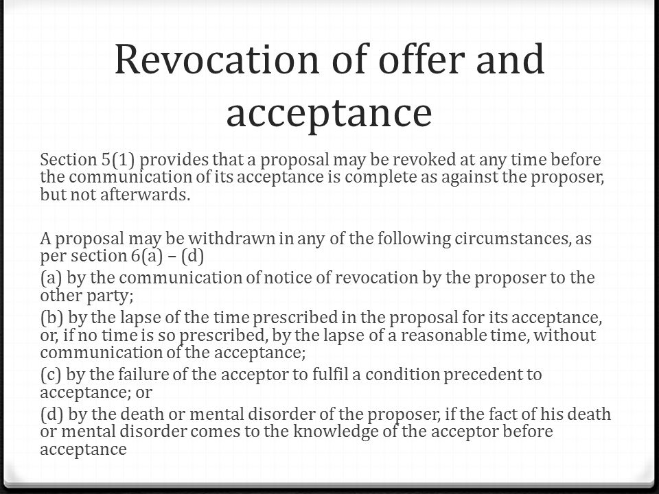 offer and acceptance in malaysia Generally speaking, acceptance occurs when the offeree expressly accepts the offer made by the offeror, like paying the asking price for the kittens this binds both parties to the agreement.