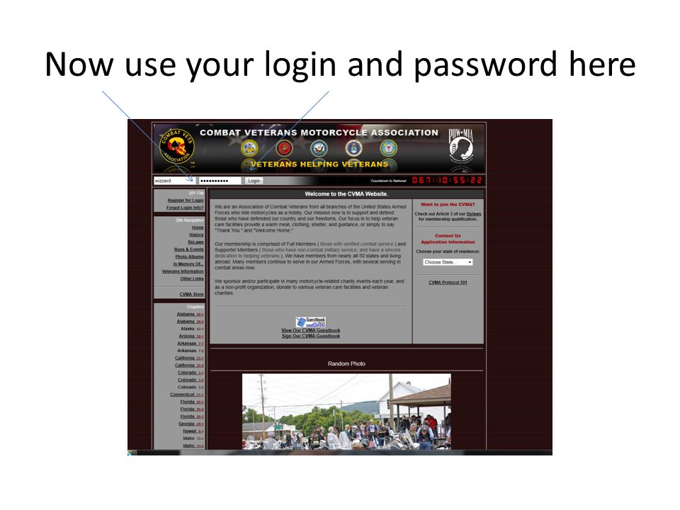 Now use your login and password here