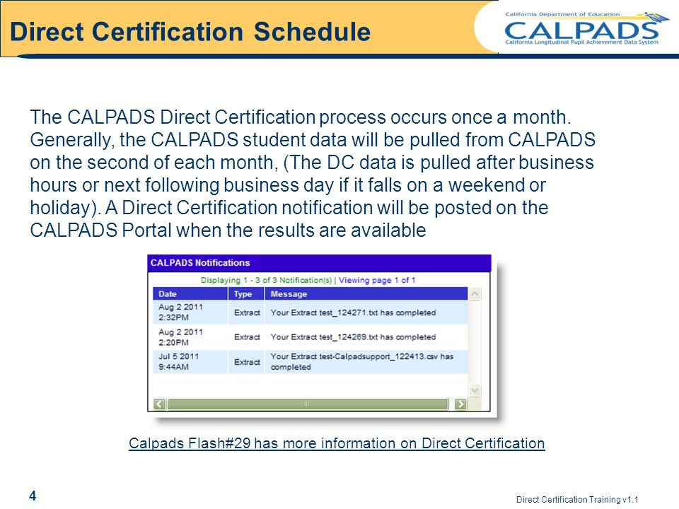 Direct Certification Training v1.1 Direct Certification Schedule 4 The CALPADS Direct Certification process occurs once a month.