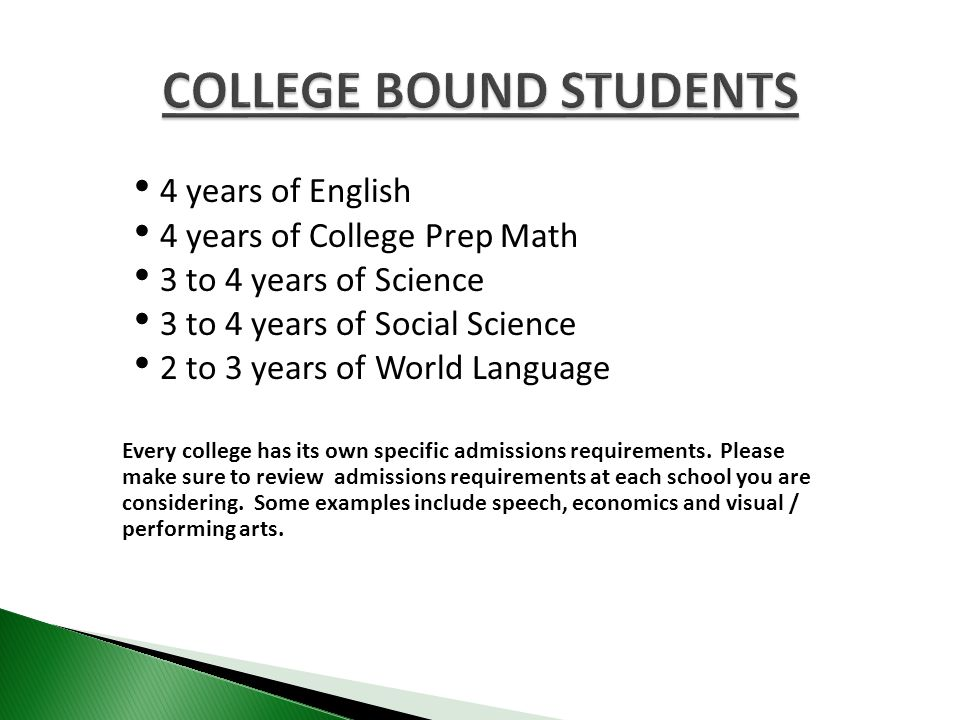 4 years of English 4 years of College Prep Math 3 to 4 years of Science 3 to 4 years of Social Science 2 to 3 years of World Language Every college has its own specific admissions requirements.
