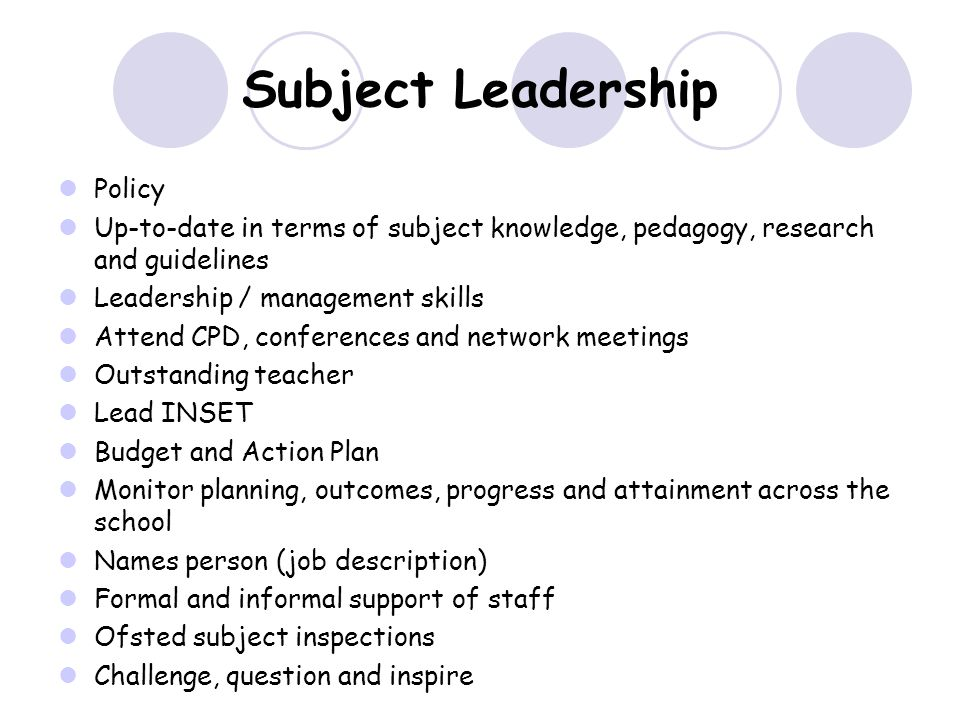 Subject Leadership Policy Up-to-date in terms of subject knowledge, pedagogy, research and guidelines Leadership / management skills Attend CPD, conferences and network meetings Outstanding teacher Lead INSET Budget and Action Plan Monitor planning, outcomes, progress and attainment across the school Names person (job description) Formal and informal support of staff Ofsted subject inspections Challenge, question and inspire