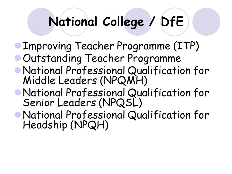 National College / DfE Improving Teacher Programme (ITP) Outstanding Teacher Programme National Professional Qualification for Middle Leaders (NPQMH) National Professional Qualification for Senior Leaders (NPQSL) National Professional Qualification for Headship (NPQH)