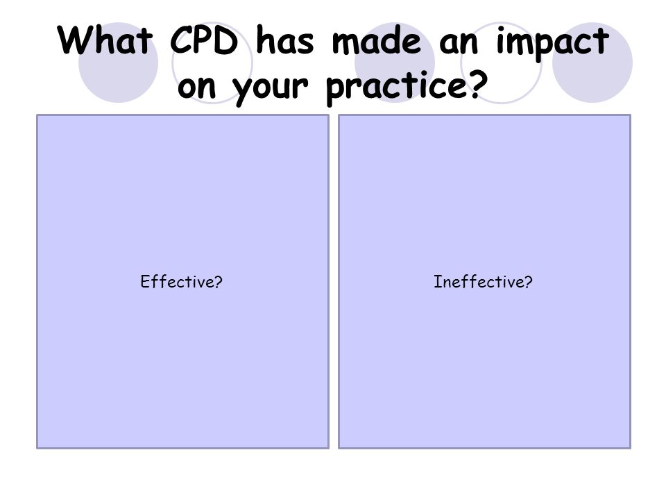 What CPD has made an impact on your practice Effective Ineffective