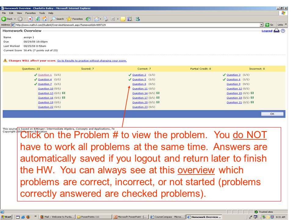 Click on the Problem # to view the problem. You do NOT have to work all problems at the same time.