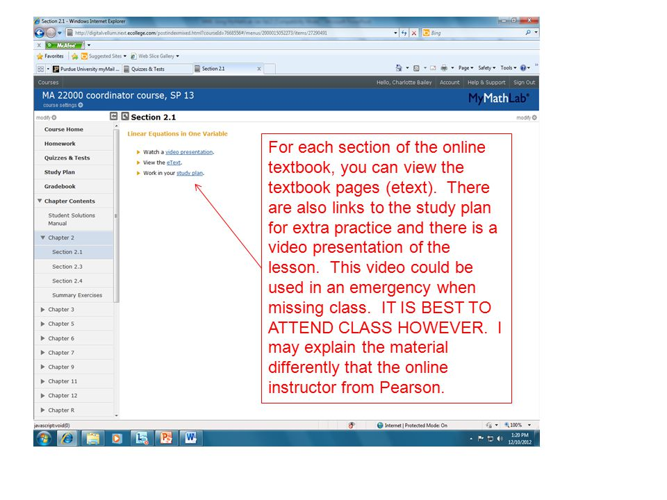 For each section of the online textbook, you can view the textbook pages (etext).