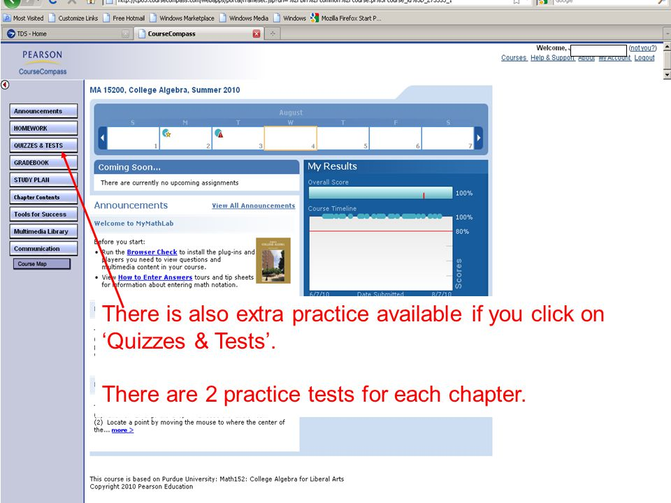 There is also extra practice available if you click on 'Quizzes & Tests'.