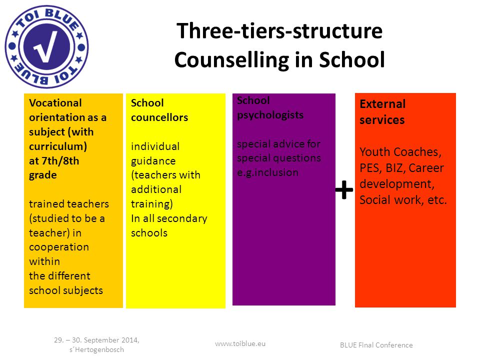 Three-tiers-structure Counselling in School External services Youth Coaches, PES, BIZ, Career development, Social work, etc.
