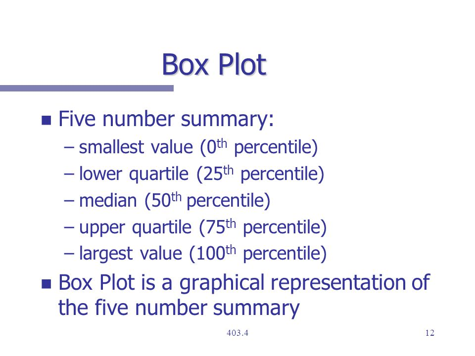 Box Plot n n Five number summary: – –smallest value (0 th percentile) – –lower quartile (25 th percentile) – –median (50 th percentile) – –upper quartile (75 th percentile) – –largest value (100 th percentile) n n Box Plot is a graphical representation of the five number summary