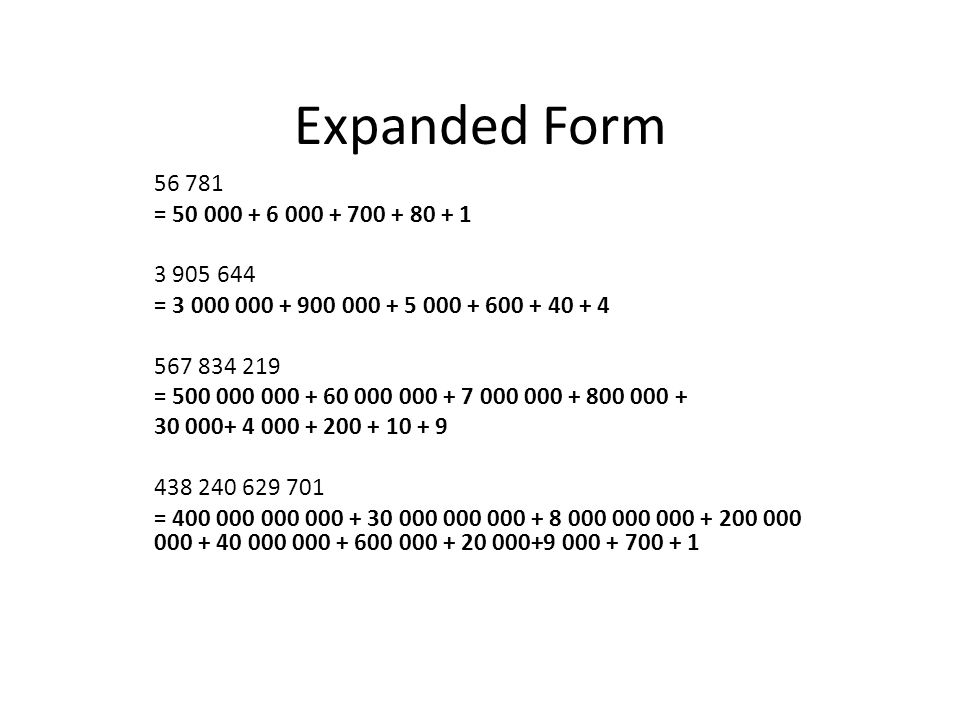 expanded form of 500 000  Expanded Form ppt download