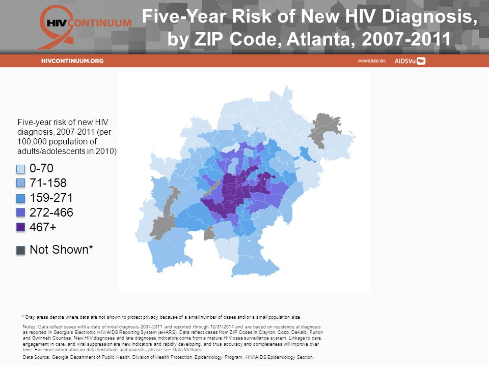 Five-Year Risk of New HIV Diagnosis, by ZIP Code, Atlanta, Notes: Data reflect cases with a date of initial diagnosis and reported through 12/31/2014 and are based on residence at diagnosis as reported in Georgia s Electronic HIV/AIDS Reporting System (eHARS).