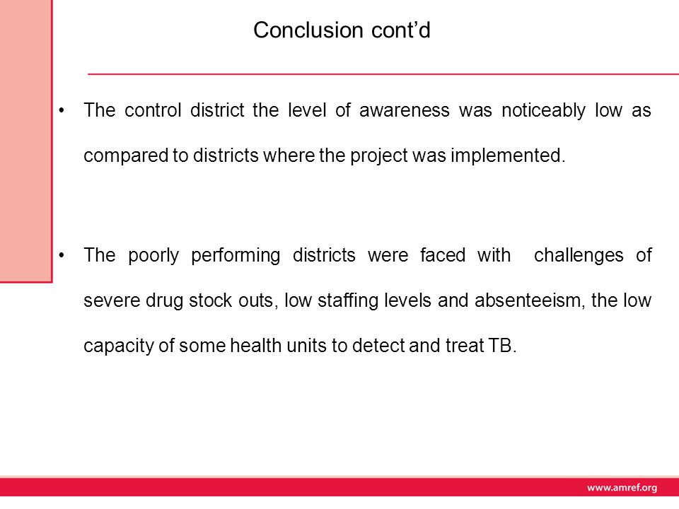 Conclusion cont'd The control district the level of awareness was noticeably low as compared to districts where the project was implemented.