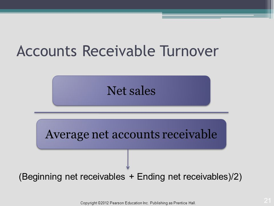 Accounts Receivable Turnover Copyright ©2012 Pearson Education Inc.