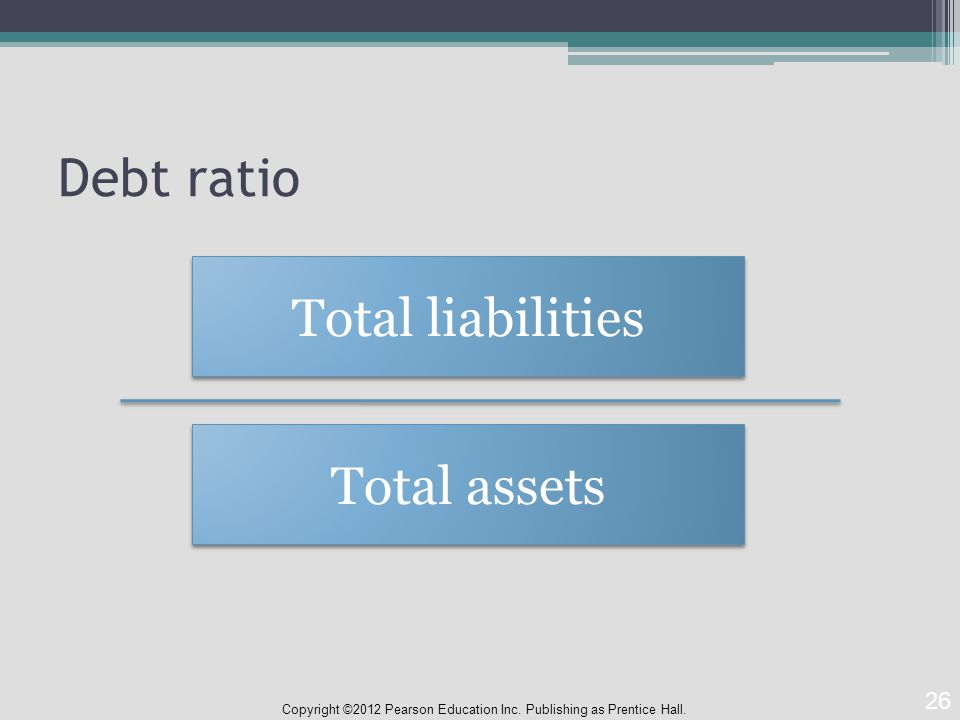 Debt ratio Copyright ©2012 Pearson Education Inc. Publishing as Prentice Hall.