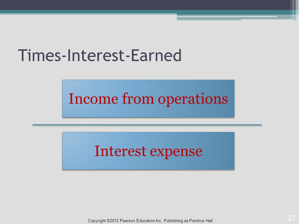 Times-Interest-Earned Copyright ©2012 Pearson Education Inc.