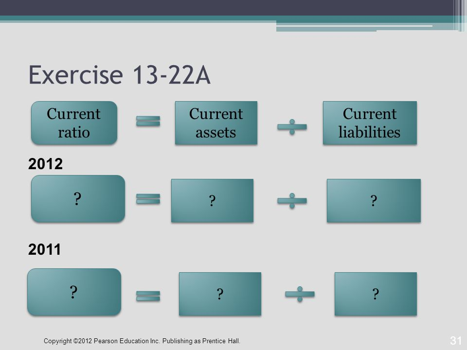 Exercise 13-22A 31 Current ratio Current assets Current liabilities .