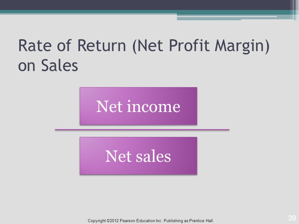 Rate of Return (Net Profit Margin) on Sales Copyright ©2012 Pearson Education Inc.