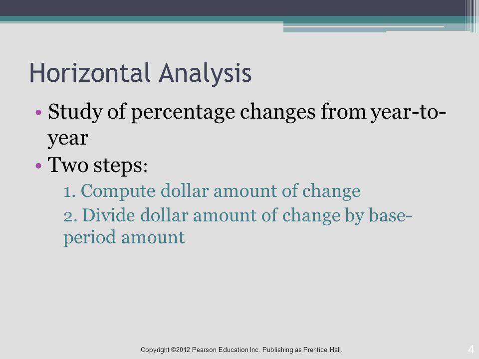 Horizontal Analysis Study of percentage changes from year-to- year Two steps : 1.