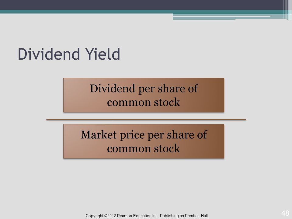 Dividend Yield Copyright ©2012 Pearson Education Inc.