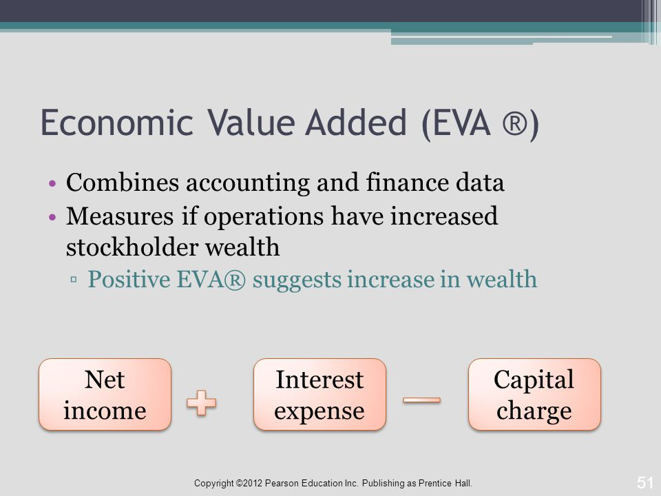 Economic Value Added (EVA ®) Combines accounting and finance data Measures if operations have increased stockholder wealth ▫Positive EVA® suggests increase in wealth 51 Copyright ©2012 Pearson Education Inc.