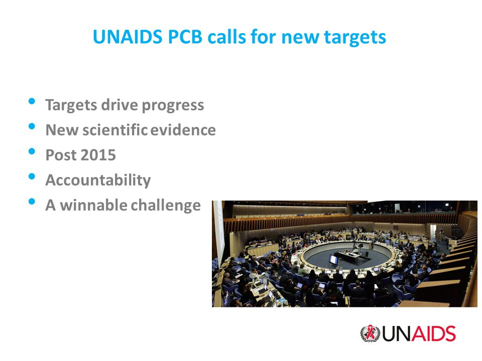 UNAIDS PCB calls for new targets Targets drive progress New scientific evidence Post 2015 Accountability A winnable challenge