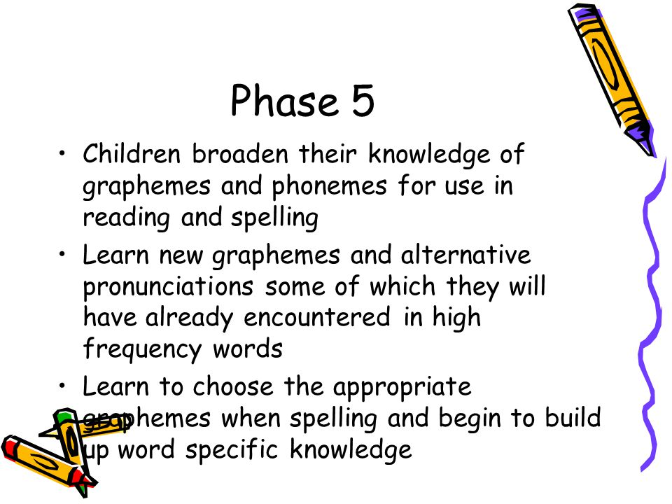 Phase 5 Children broaden their knowledge of graphemes and phonemes for use in reading and spelling Learn new graphemes and alternative pronunciations some of which they will have already encountered in high frequency words Learn to choose the appropriate graphemes when spelling and begin to build up word specific knowledge