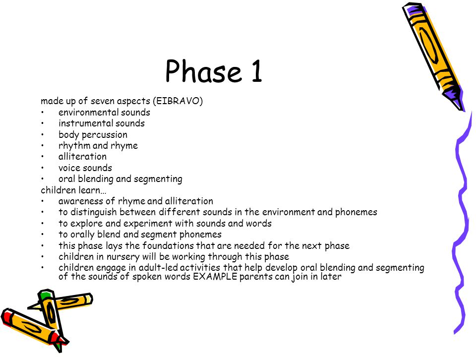 Phase 1 made up of seven aspects (EIBRAVO) environmental sounds instrumental sounds body percussion rhythm and rhyme alliteration voice sounds oral blending and segmenting children learn… awareness of rhyme and alliteration to distinguish between different sounds in the environment and phonemes to explore and experiment with sounds and words to orally blend and segment phonemes this phase lays the foundations that are needed for the next phase children in nursery will be working through this phase children engage in adult-led activities that help develop oral blending and segmenting of the sounds of spoken words EXAMPLE parents can join in later