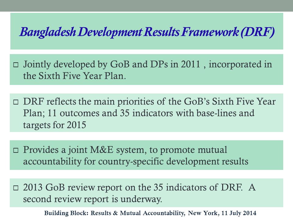  Jointly developed by GoB and DPs in 2011, incorporated in the Sixth Five Year Plan.