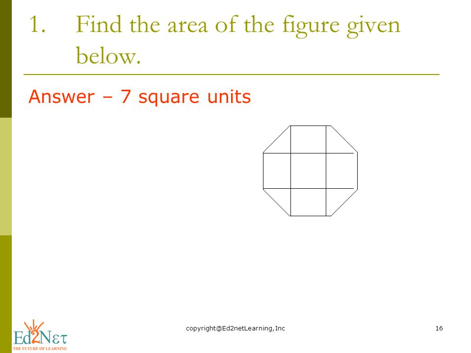 1.Find the area of the figure given below. Answer – 7 square units