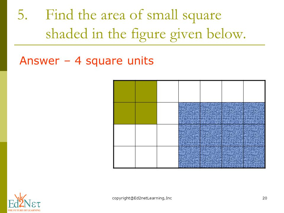 5.Find the area of small square shaded in the figure given below.