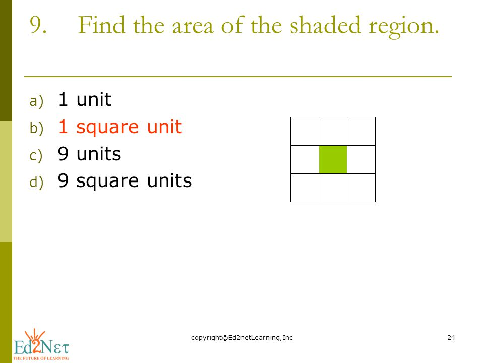 9.Find the area of the shaded region.