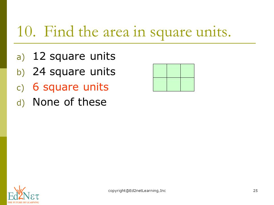 10.Find the area in square units.