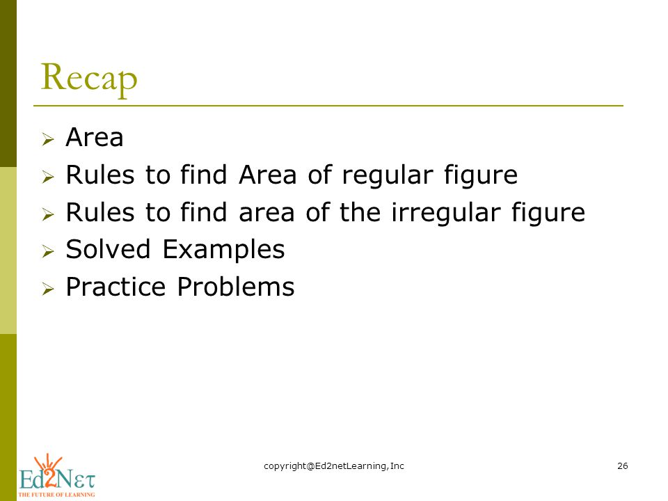Recap  Area  Rules to find Area of regular figure  Rules to find area of the irregular figure  Solved Examples  Practice Problems