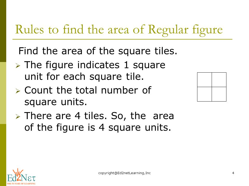 Rules to find the area of Regular figure Find the area of the square tiles.
