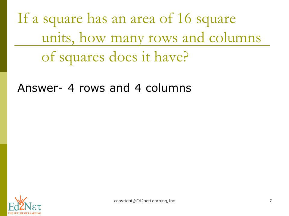 If a square has an area of 16 square units, how many rows and columns of squares does it have.