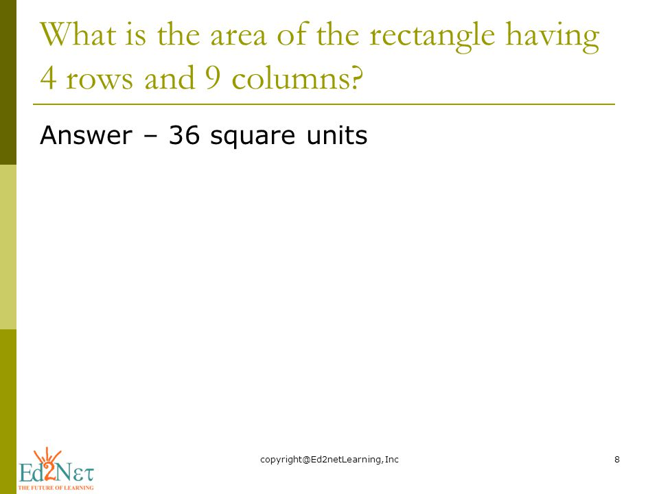 What is the area of the rectangle having 4 rows and 9 columns.
