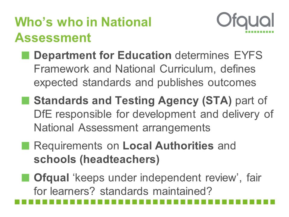 Who's who in National Assessment Department for Education determines EYFS Framework and National Curriculum, defines expected standards and publishes outcomes Standards and Testing Agency (STA) part of DfE responsible for development and delivery of National Assessment arrangements Requirements on Local Authorities and schools (headteachers) Ofqual 'keeps under independent review', fair for learners.